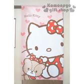 〔小禮堂〕Hello Kitty 日製長門簾《淺粉.坐姿.小熊.愛心滿版》85x150cm 8002121-21901
