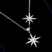 【ANGEL】閃耀雙星鋯石璀璨韓風炫銀項鍊(銀色)