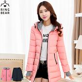 保暖外套--禦寒聖品保暖防風連帽羅紋袖修身長版鋪棉外套(黑.粉XL-5L)-J307眼圈熊中大尺碼