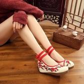 漢服鞋子女古裝繡花鞋內增高布鞋廣場舞女鞋古風綁帶單鞋夏民族風