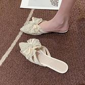 網紅涼拖女2021夏季新款韓版水鉆包頭蝴蝶結拖鞋時尚外穿女穆勒鞋 寶貝計畫