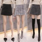 格子短褲女春季新款毛呢外穿百搭高腰裙褲闊腿顯瘦靴褲【免運快出】