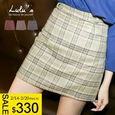 LULUS-Q格紋後拉鍊內襯褲短裙/褲裙 S-L-3色  現【05011330】