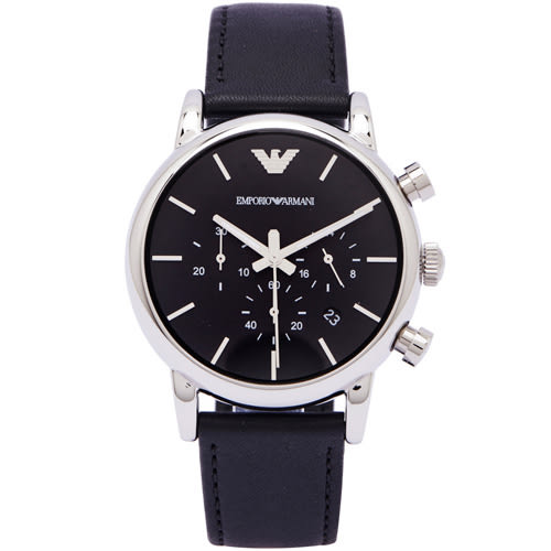 ARMANI 經典時尚三眼男性手錶(AR1733)-黑面x黑色/40mm