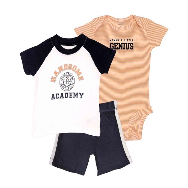 男寶寶套裝三件組 短袖包屁衣+T恤上衣+運動短褲 深藍 | Carter s卡特童裝 (嬰幼兒/小孩/baby)