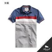 【Roush】剪接橫紋印花設計短袖polo衫 - 【61028】