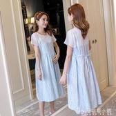 孕婦裝夏裝夏季時尚拼接寬鬆純棉孕婦連衣裙潮媽夏天哺乳裙子「安妮塔小鋪」