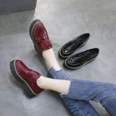 夏季新品女鞋百搭鬆糕鞋女厚底chic小皮鞋英倫風學生原宿單鞋