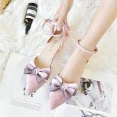 包頭高跟涼鞋女夏韓版中跟百搭時尚尖頭粗跟蝴蝶結女單鞋 俏腳丫