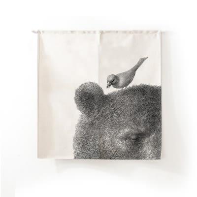 可愛時尚棉麻門簾E129 廚房半簾 咖啡簾 窗幔簾 穿杆簾 風水簾 (85cm寬*90cm高)