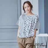【Tiara Tiara】點點x條紋純棉短袖上衣(白/灰) 新品穿搭