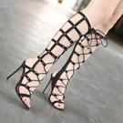 歐美羅馬高跟鞋 性感綁帶女鞋 高跟細跟涼鞋 夜店走秀舞臺表演