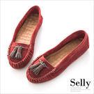 Selly *沙粒* 趣味童話‧撞色流蘇柔軟真皮莫卡辛豆豆鞋 * 紅色