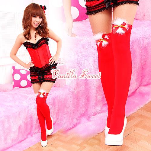 聖誕紅造型大腿絲襪膝上襪‧俏麗女孩甜姐兒必備 - 香草甜心