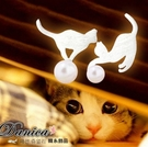 耳環 現貨 正韓氣質甜美貓咪 貓星人 不...