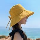 漁夫帽子女夏季潮牌小清新顯臉小純色日繫ins遮陽防曬紫外線盆帽 韓國時尚週