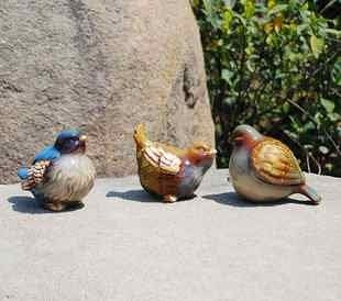 花園園藝裝飾用品 田園風格 陶瓷動物 小鳥 別墅裝修軟裝飾