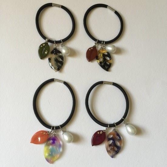 變色樹葉水鑽珍珠款髮束-法國知名品牌,韓星御用韓國製造