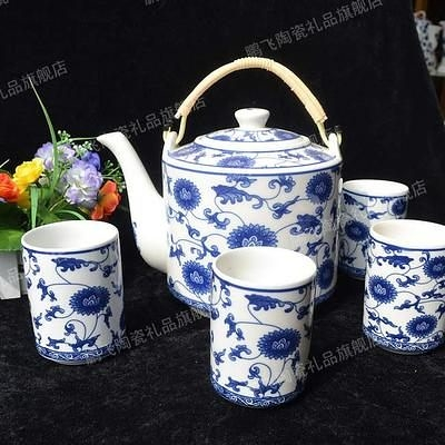 景德鎮 青花瓷 釉中彩 陶瓷茶壺 太陽花 2.2L  (一套)