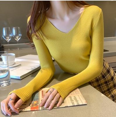 長袖針織上衣 打底衫 V領打底衫修身薄款早秋上衣女性感針織衫毛衣3531 N502胖妞衣櫥