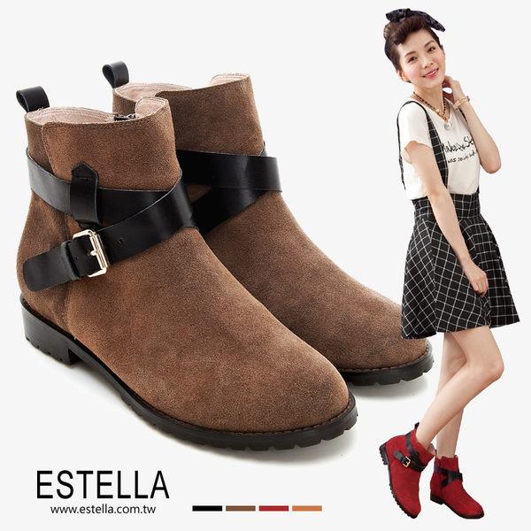 ESTELLA-全真皮釦環交叉皮帶短靴