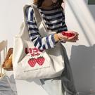 草莓加厚帆布包大容量側背包女小清新帆布袋百搭【橘社小鎮】