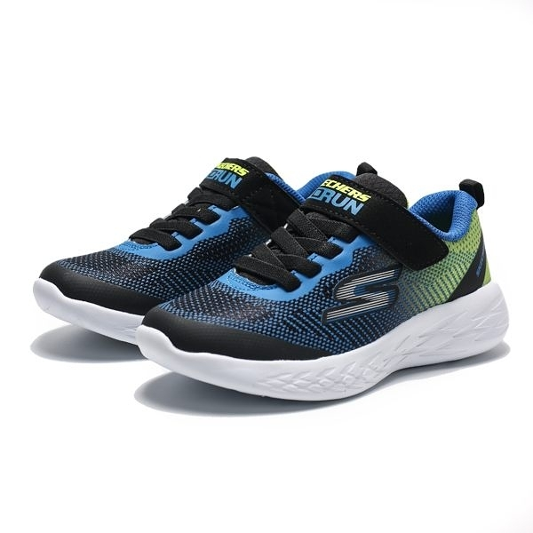 SKECHERS GO RUN 600 藍黃 黑 黏帶 休閒鞋 中童 (布魯克林) 97867LBBLM