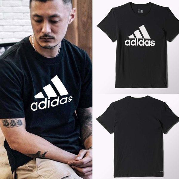 adidas T恤 Essential Linear Tee 黑 白 LOGO 三條線 短袖上衣 男款 【PUMP306】 CD4864