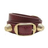 BALENCIAGA 巴黎世家 酒紅色山羊皮金釦手環 Giant Bracelet M 236345 【BRAND OFF】