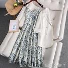 碎花洋裝甜美夏季V領法式溫柔風氣質茶歇裙吊帶裙子兩件套裝裙 蘿莉新品