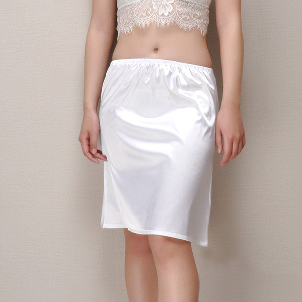 緞面製A版中長款襯裙(45cm) [黑 白] 兩色售 11770011