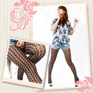 【琨蒂絲】浪漫網樣 彈性褲襪 /16-XJ35/箭型格紋(黑色)