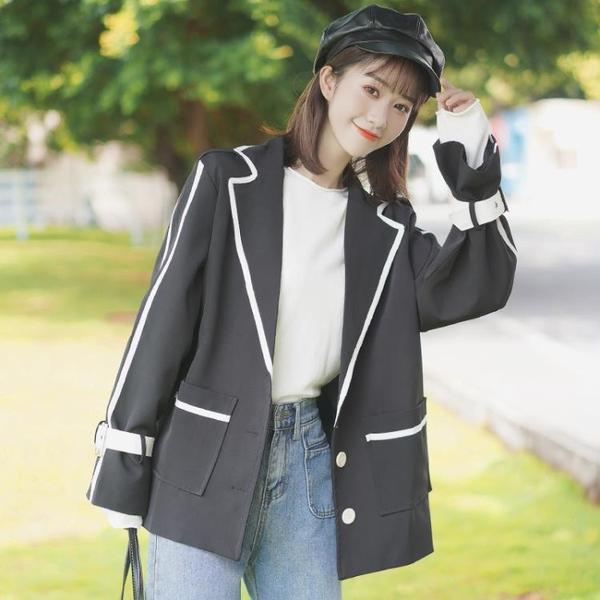 西裝外套 2021新款春秋拼色條紋炸街小西裝外套女寬鬆小個子學生西服