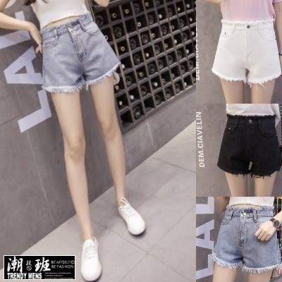 『潮段班』【ML065001】新款 個性毛邊造型3D剪裁高腰修身顯瘦牛仔短褲 牛仔褲牛仔短褲
