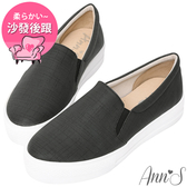 Ann'S進化2.0!貓抓不爛防水防刮足弓墊腳顯瘦厚底懶人鞋-黑
