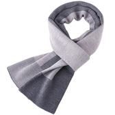 針織圍巾-羊毛簡約經典拼色男披肩3色73wi22【時尚巴黎】