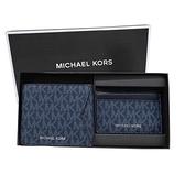 【南紡購物中心】MICHAEL KORS GIFTING銀字滿版對開短夾(附證件夾)禮盒組-深藍
