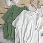純色V領短袖t恤女學生寬鬆百搭潮夏2020新款ins超火cec半袖棉上衣 店慶降價