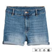 牛仔短褲 彈力牛仔短褲高腰卷邊熱褲