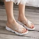 拖鞋女外穿2020新款夏ins潮網紅超火水鑚外出沙灘厚底小熊涼拖鞋 618購物節