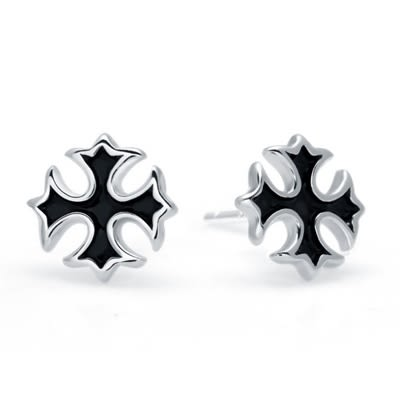 925純銀耳環(耳針式)-個性十字架生日聖誕節禮物女飾品73dr162[時尚巴黎]