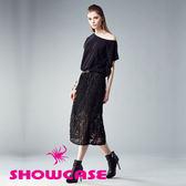 【SHOWCASE】不對稱袖T拼接百褶蕾絲裙洋裝