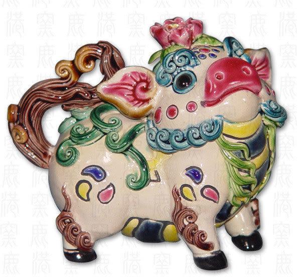 鹿港窯-居家開運商品-台灣國寶交趾陶S十二生肖-豬◆附精美包裝◆免運費送到家
