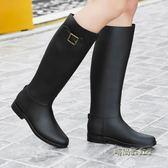 夏韓版雨鞋女高筒時尚防雨水鞋膠鞋馬丁雨靴戶外長筒水靴平底雨鞋「時尚彩虹屋」