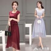 中年媽媽真絲桑蠶絲洋裝女中長款夏季新款大牌收腰顯瘦裙子 三角衣櫃