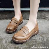 春季新款平底樂福鞋復古英倫風女鞋圓頭百搭小皮鞋學生單鞋女