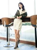 秋冬7折[H2O]圓領釘珠設計中長版針織毛衣洋裝 - 紫/米白/灰色 #9650010