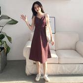 連身裙夏季女裝新款氣質復古格子中長裙子學生單排扣吊帶V領打底連身裙~幸運閣