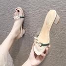 拖鞋女夏外穿2020新款軟底涼拖鞋時尚百搭防滑露趾粗跟高跟一字拖 蘿莉新品