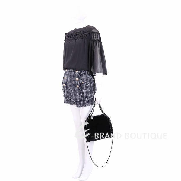 Stella McCartney Falabella 迷你黑色天鵝絨兩用鍊帶包 1840150-01